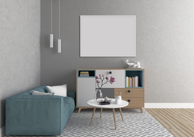 Intérieur scandinave avec cadre horizontal blanc Photo Premium