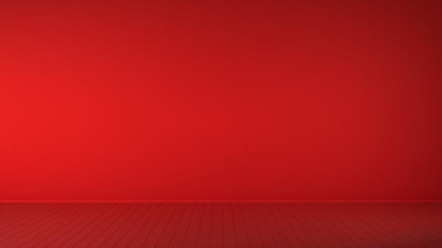 Intérieur De Ton Rouge Vivant Sur Fond Jaune Et Fond. Illustration 3d. Photo Premium