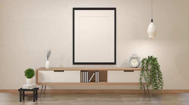 Intérieur zen moderne du salon japonais avec armoire en bois et affiche vierge ou cadre photo rendu 3d Photo Premium
