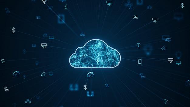 Internet of things (iot) concept. réseau informatique en nuage de données volumineuses. Photo Premium