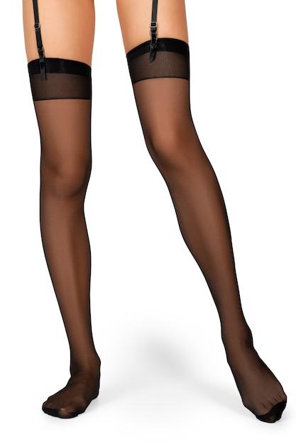 Jambes De Femmes Minces En Bas Couture Noire Avec Jarretière Isolé Sur Blanc Photo Premium