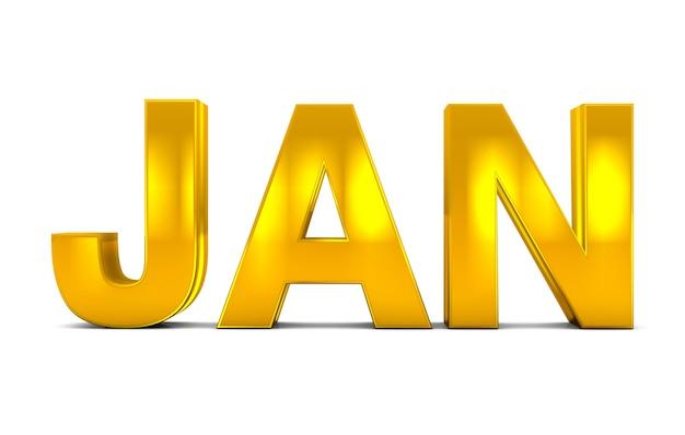 Jan Or Texte 3d Janvier Mois Abréviation Isolé Sur Fond Blanc. Rendu 3d. Photo Premium