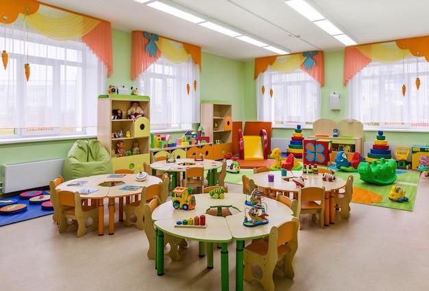 Jardin D'enfants, Intérieur Moderne De La Salle Pour Les Cours Et Les Jeux. Photo Premium