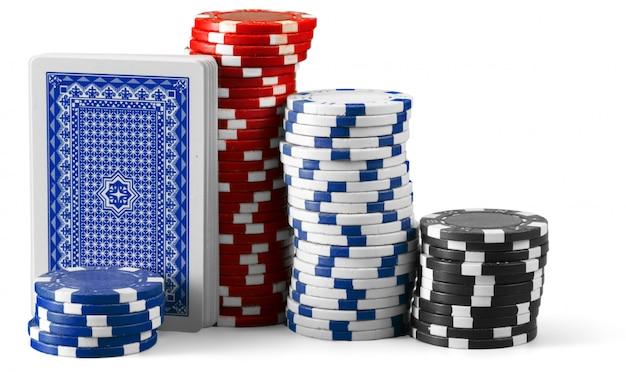 Jetons de casino isolés sur fond blanc Photo Premium