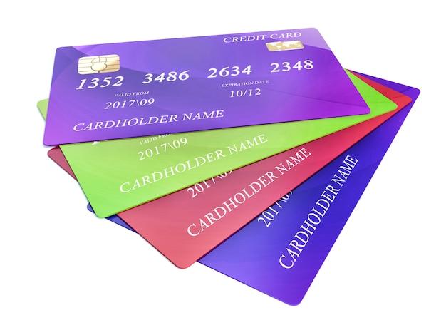 Jeu De Cartes De Crédit De Couleur Isolé Photo Premium