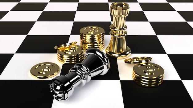 Jeu d'échecs et pièces d'or rendu 3d pour le contenu professionnel. Photo Premium
