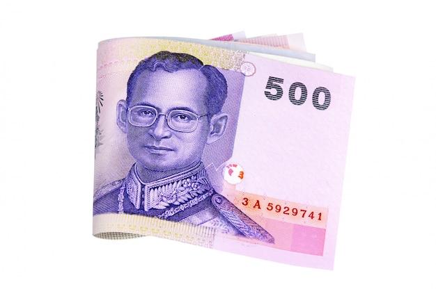 Jeu de factures de monnaie baht thaïlandais entièrement isolé contre blanc Photo Premium