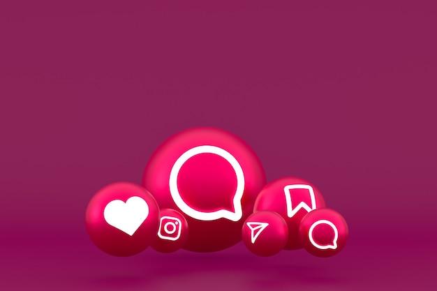 Jeu D'icônes Instagram Rendu Sur Fond Rouge Photo Premium