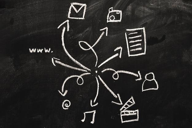 Jeu d'icônes web dessiné sur le tableau noir avec craie blanche Photo gratuit