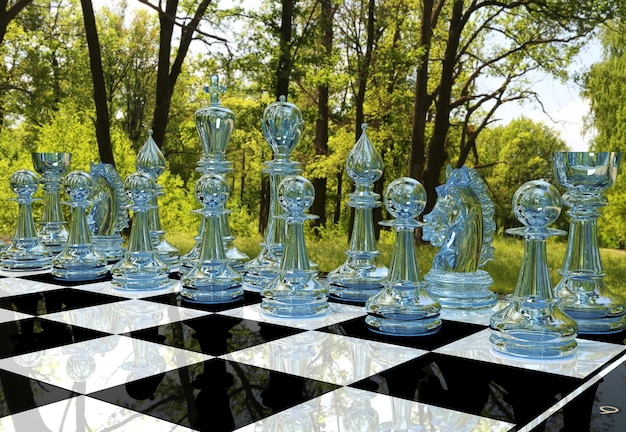 Jeu De Plateau D'échecs Dans Le Jardin De La Forêt Photo Premium