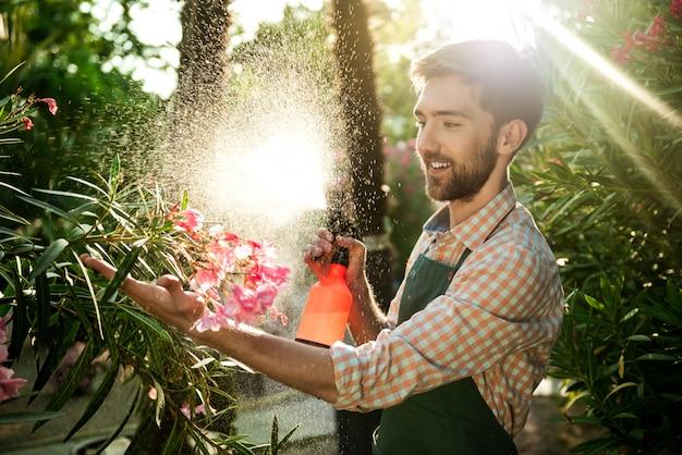Jeune Beau Jardinier Souriant, Arrosant, Prenant Soin Des Fleurs Flare Lumière Du Soleil Sur L'arrière-plan. Photo gratuit