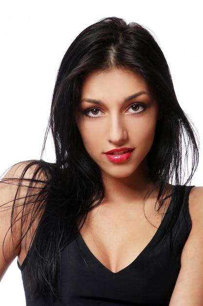 Jeune belle femme sexy brunet Photo gratuit