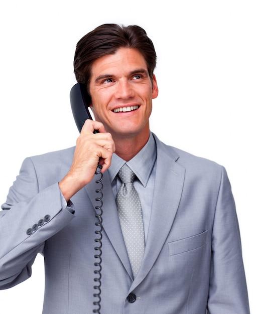 Jeune cadre masculin au téléphone Photo Premium