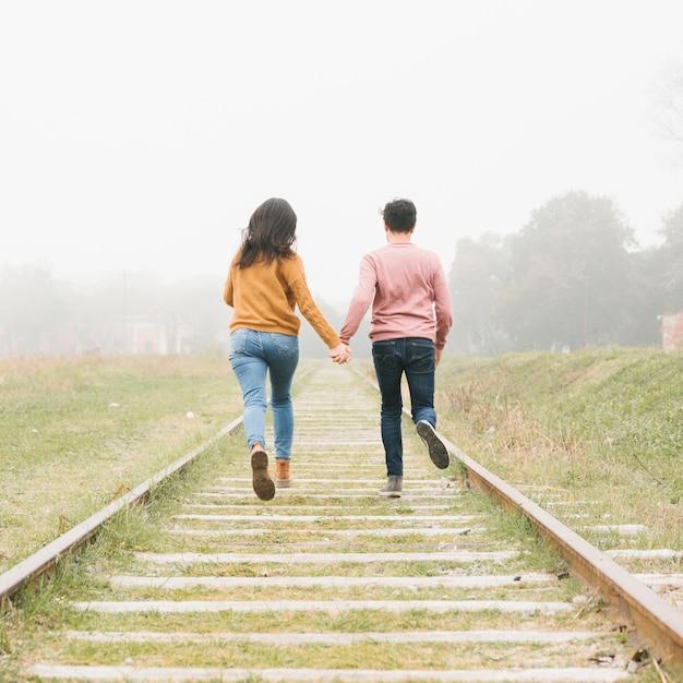 Jeune Couple, Courant, Pistes Photo gratuit
