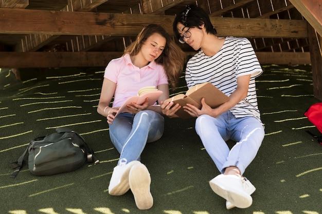 Jeune Couple Multiracial, Lire, Livres, Dans Parc Photo gratuit