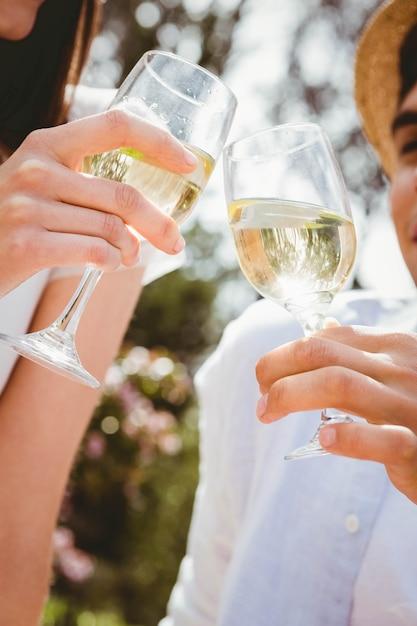 Jeune couple portant un verre de vin en pique-nique Photo Premium