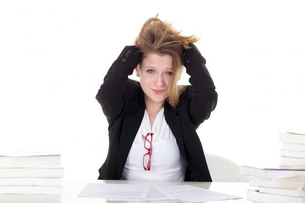 Jeune étudiante stressée Photo Premium