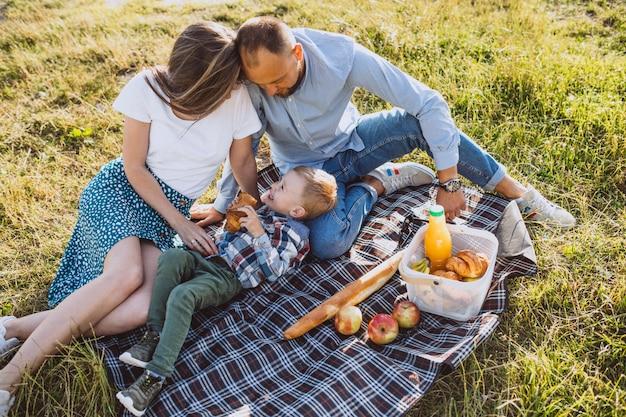 Jeune famille avec petit fils ayant pique-nique dans le parc Photo gratuit