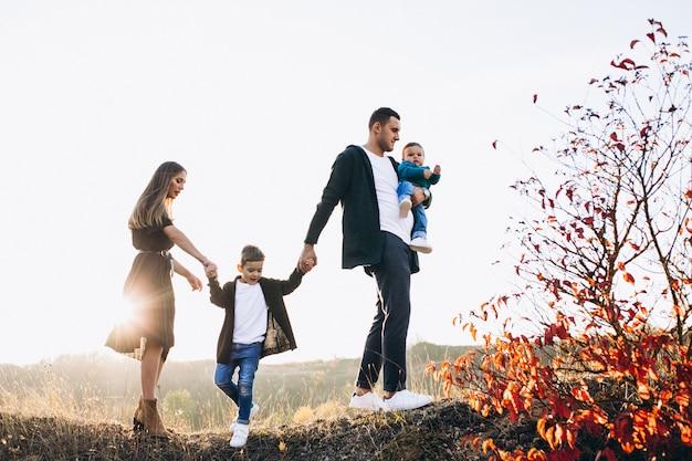 Jeune Famille, à, Petit Fils, Marche, Dans Parc Photo gratuit