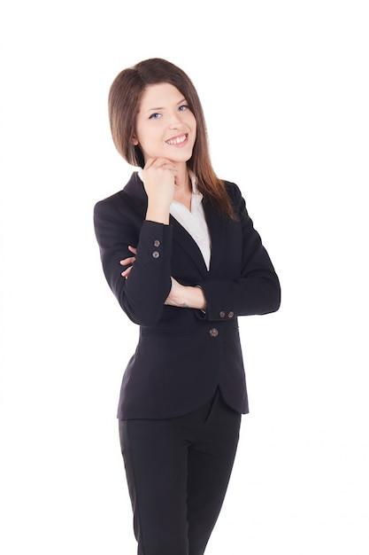 Jeune femme d'affaires - fond de studio Photo Premium