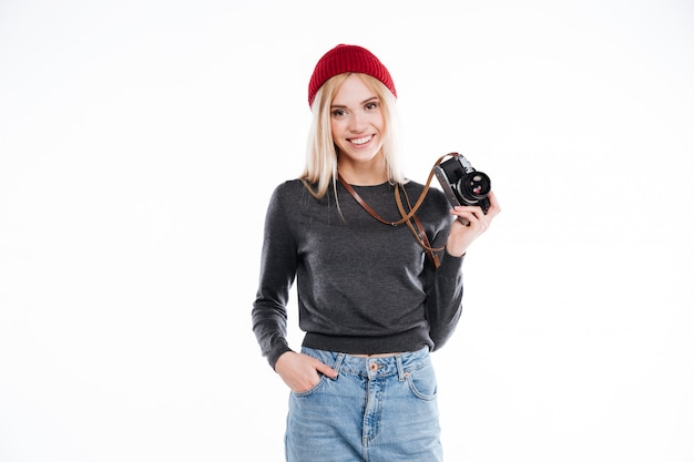 Jeune, Femme, Désinvolte, Vêtements, Debout, Tenue, Retro, Appareil Photo Photo gratuit