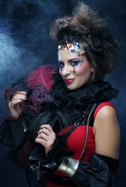 Jeune Femme Avec Maquillage Créatif, Photo Premium