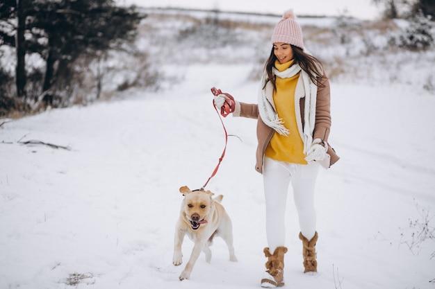 Jeune femme marchant avec son chien dans un parc d'hiver Photo gratuit