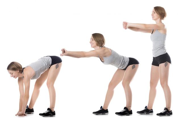 Jeune femme montrant une séquence d'exercices Photo gratuit