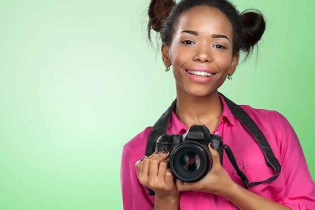 Jeune Femme Photographe Photo Premium