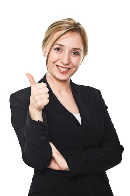 Jeune Femme, Pouce Haut, Blanc Photo Premium