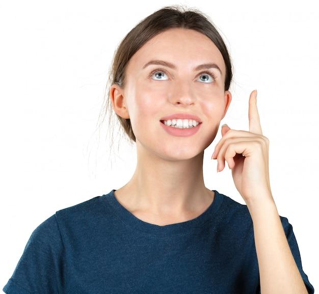 Jeune femme réfléchie rêverie isolée sur blanc Photo Premium