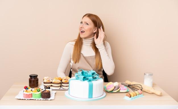 Jeune Femme Rousse Avec Un Gros Gâteau écoute Quelque Chose Photo Premium