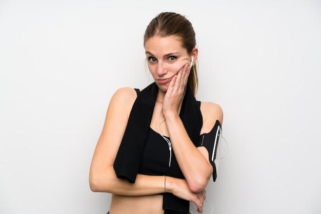 Jeune femme sportive malheureuse et frustrée Photo Premium