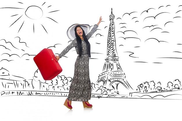 Jeune femme voyageant à paris Photo Premium