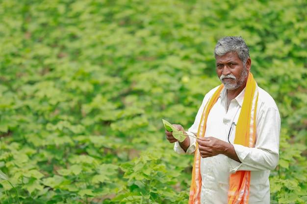 Jeune fermier indien travaillant au champ Photo Premium