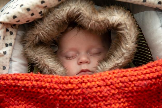 Jeune garçon endormi dans la poussette Photo Premium