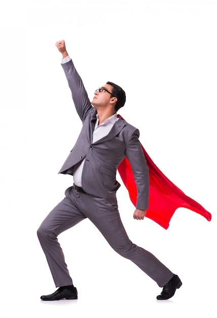 Jeune homme d'affaires avec une couverture rouge sur blanc Photo Premium