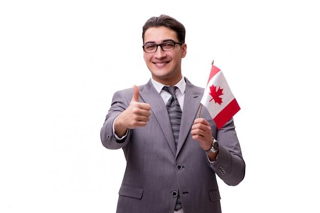 Jeune homme d'affaires avec drapeau isolé sur blanc Photo Premium
