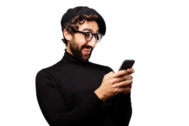Jeune homme d'affaires portrait smartphone mode de vie Photo gratuit