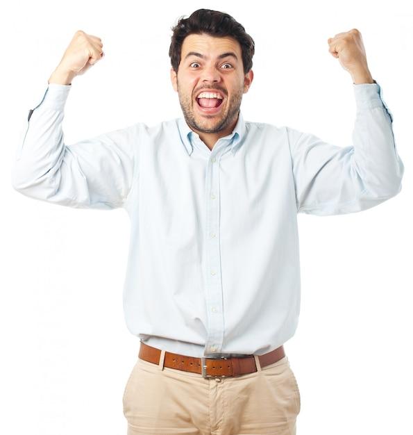 Jeune homme heureux sur fond blanc Photo Premium