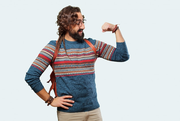 Jeune homme hippie forte pose Photo Premium