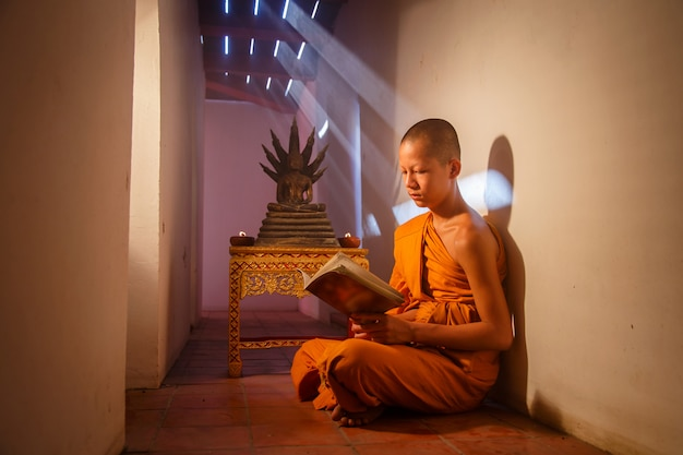 Jeune moine novice lisant un livre au parc historique d'ayutthaya en thaïlande Photo Premium