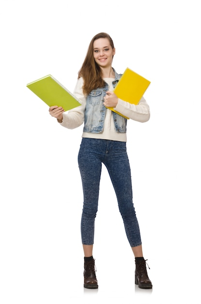 Jolie étudiante tenant des manuels isolés sur blanc Photo Premium