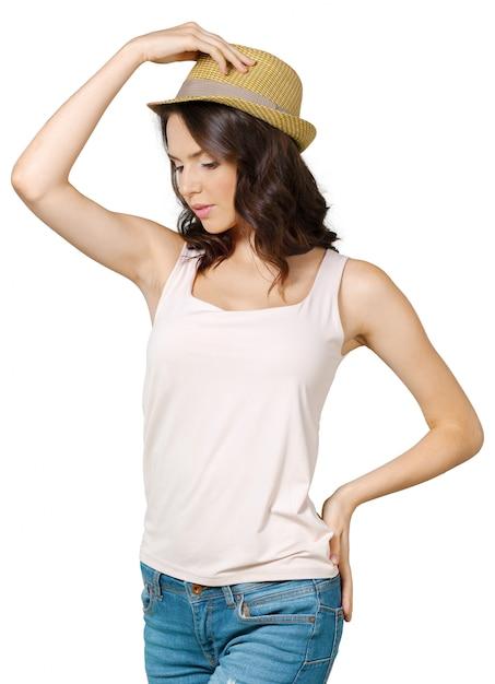 Jolie femme gaie au chapeau Photo Premium