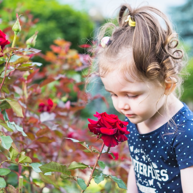 Jolie fille en regardant la rose rouge dans le jardin Photo gratuit