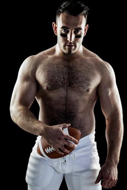 Joueur de football américain sans ballon avec ballon Photo Premium
