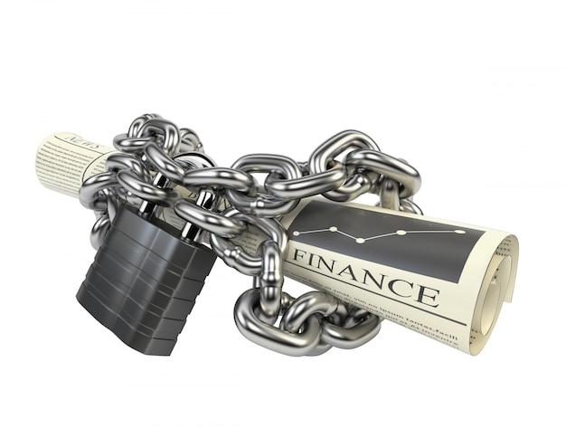 Journal enchaîné chaîne et cadenas, isolé sur fond blanc. Photo Premium
