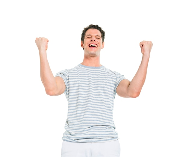 Joyeux homme décontracté célébrant la victoire Photo gratuit