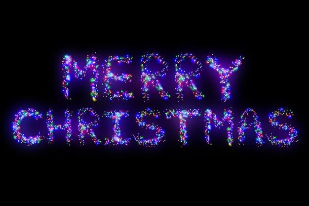 Joyeux noël lettrage d'une électrique multicolore brille en guirlande de couleurs différentes Photo Premium