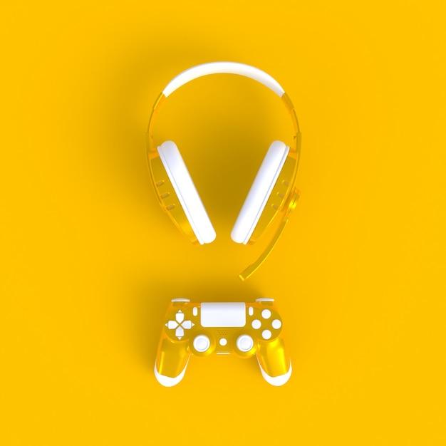 Joystick jaune avec un casque jaune sur fond de table jaune Photo Premium